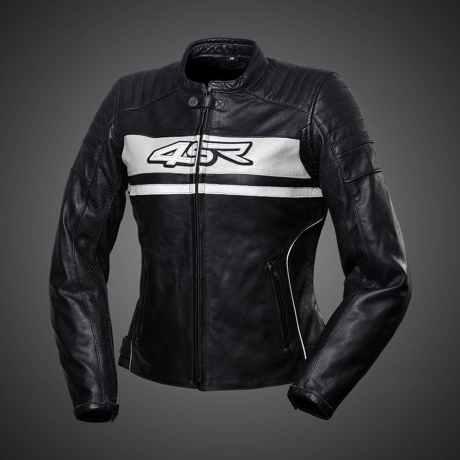 4SR dámska kožená bunda na motorku Roadster Lady Pearl White
