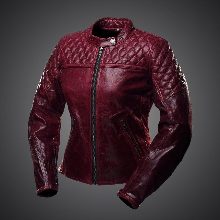4SR dámska kožená bunda na motorku Scrambler Lady Wine