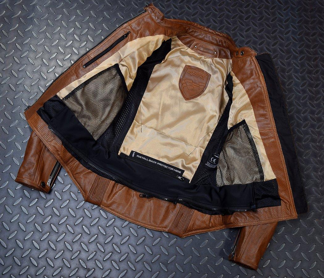 4SR dámska kožená bunda na motorku Scrambler Lady Cognac