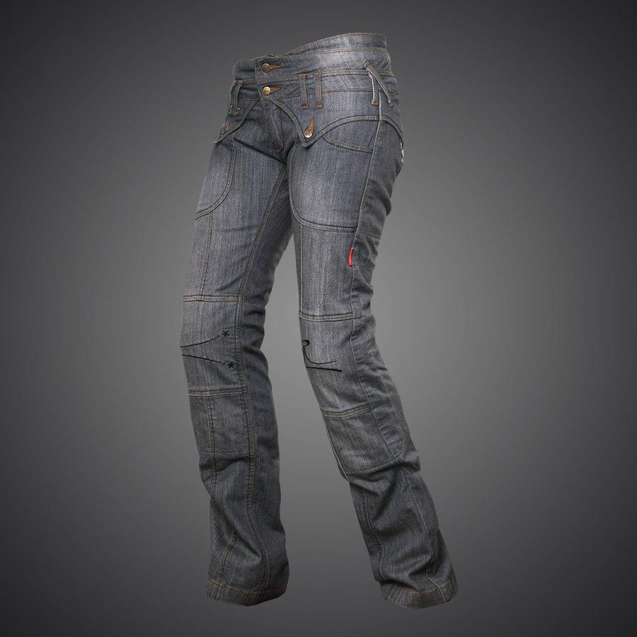 4SR dámske kevlarové moto džínsy Jeans Lady Star Grey