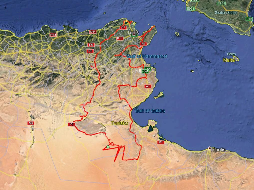 Africa Twin Tunisia Adventure - hrubý návrh trasy