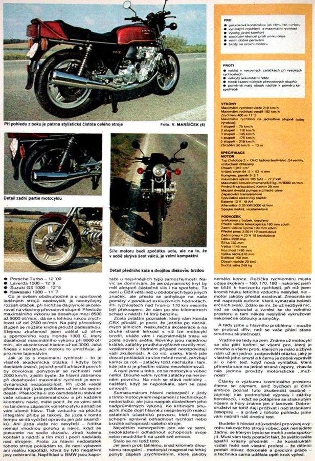 Dobový test Honda CBX 1000 - Motoristická současnost číslo 12 rok 1979