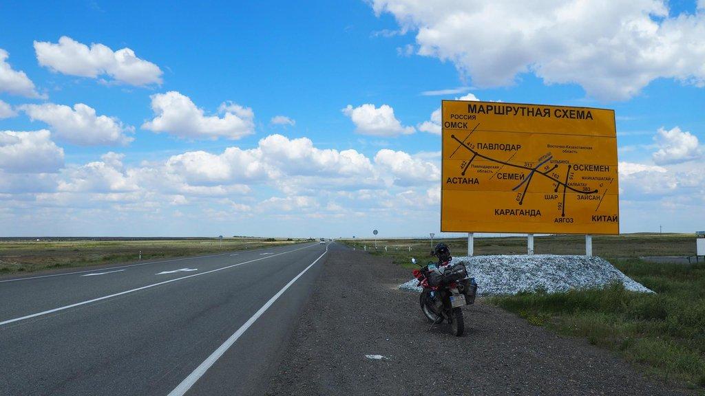 Schéma cestnej siete na východe Kazachstanu