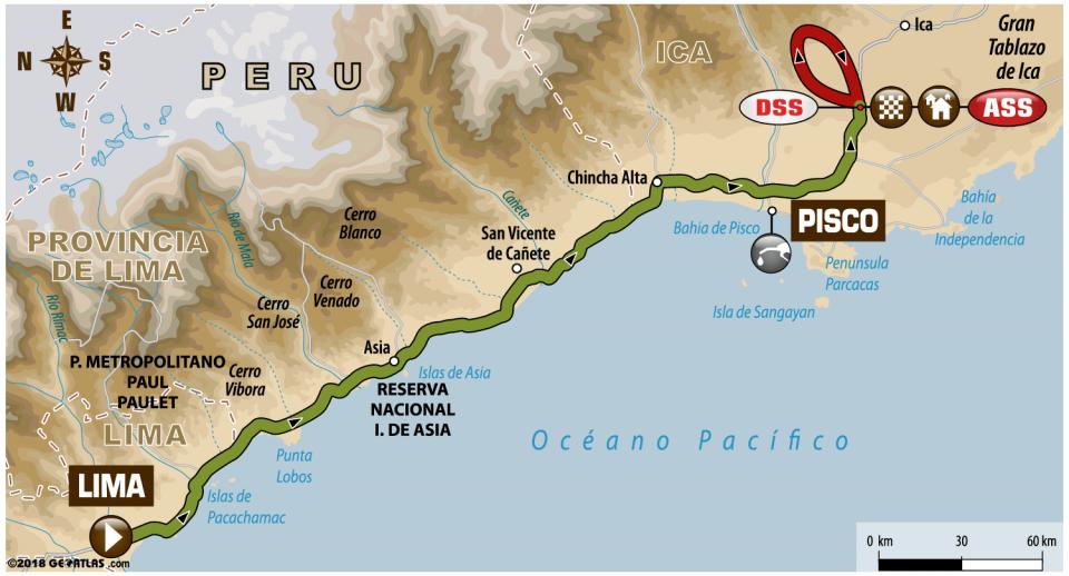 1. etapa - mapa - Dakar 2018