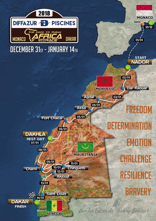 Africa Eco Race 2018 - mapa trasy