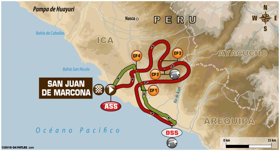 Dakar 2018 - 4. etapa - mapa trasy