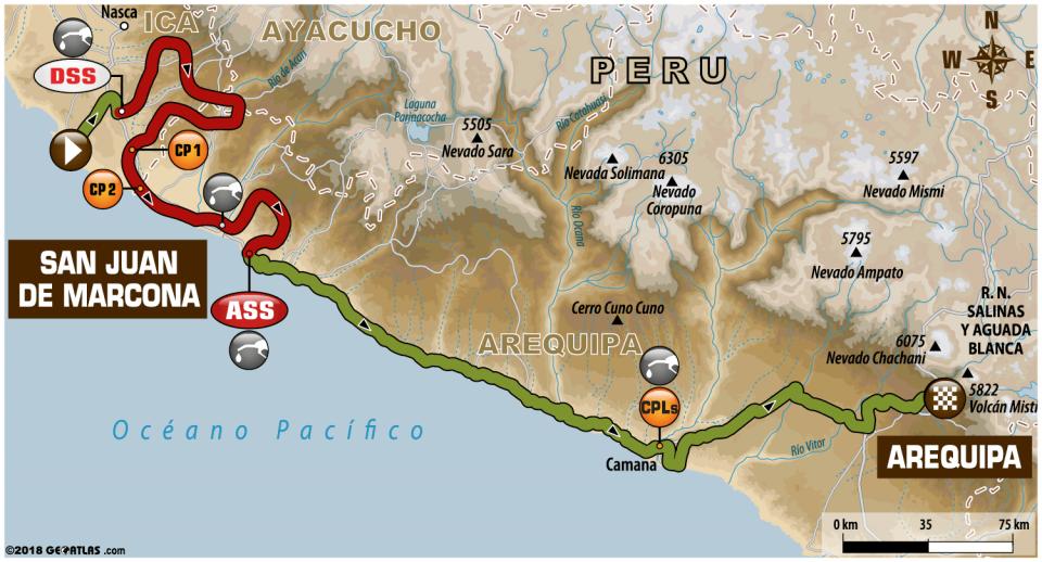 Dakar 2018 - 5. etapa - San Juan de Marcona - Arequipa - mapa
