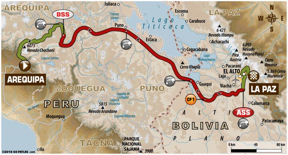 Dakar 2018 - 6. etapa - Arequipa - La Paz - mapa