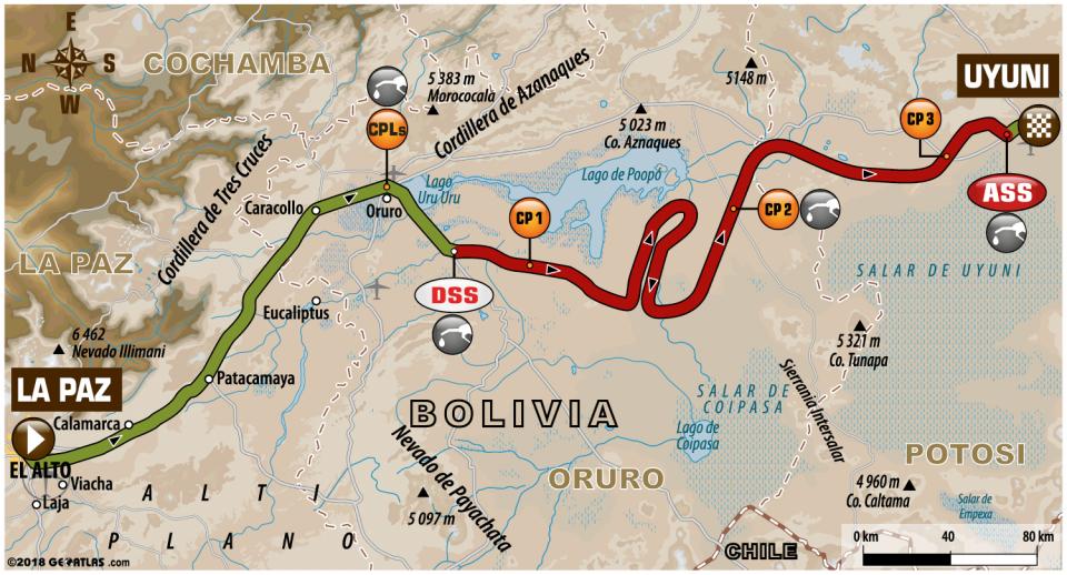 Dakar 2018 - 7. etapa - La Paz - Uyuni - mapa