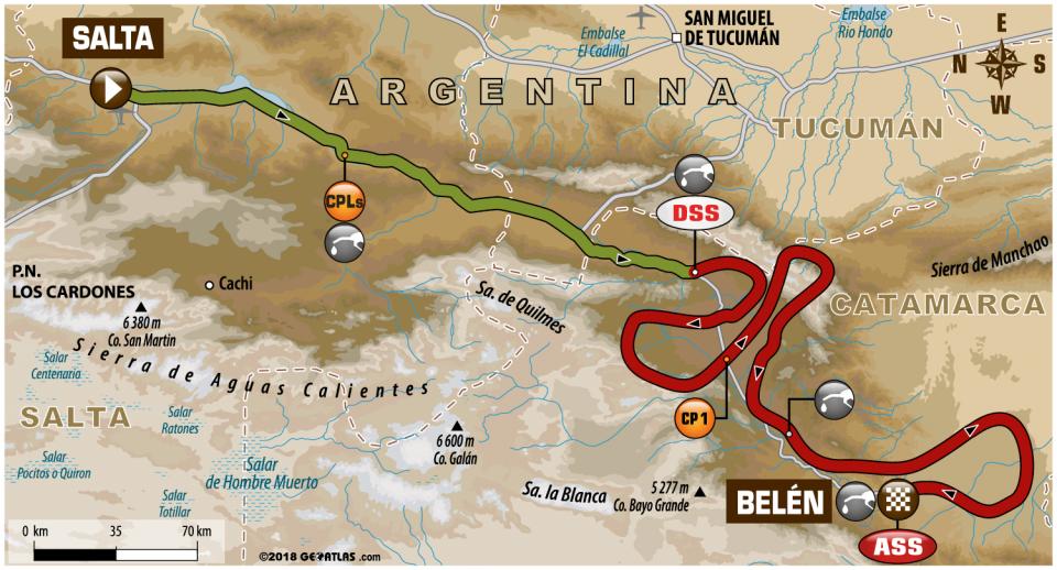 Dakar 2018 - 10. etapa - Salta - Belén - mapa