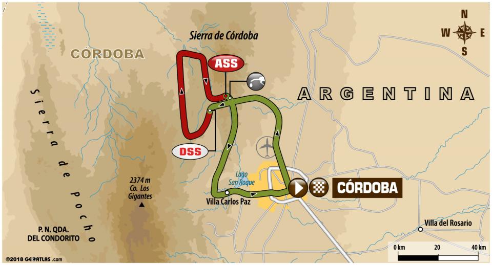 Dakar 2018  - 14. etapa - mapa
