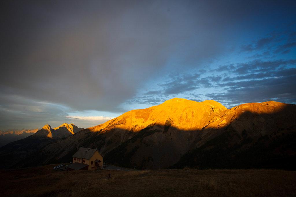 Západ slnka v sedle Col d´Allos.