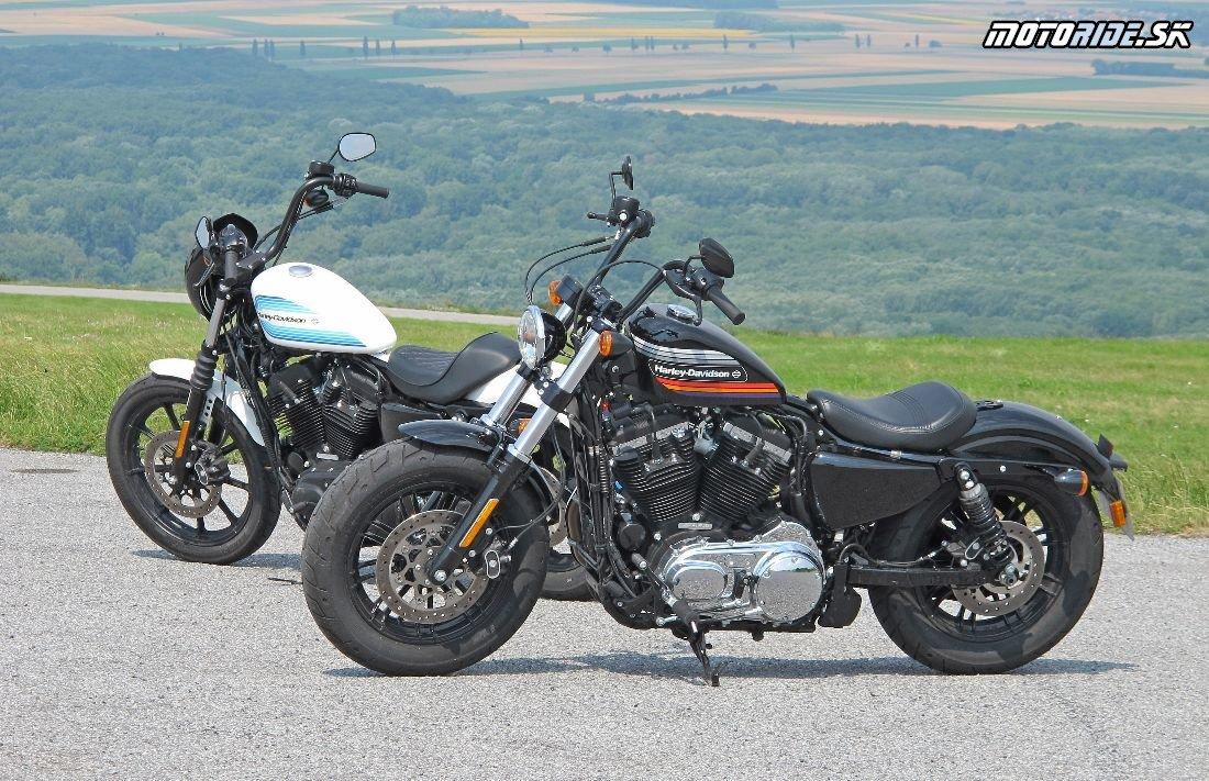 Harley-Davidson Sportster XL 1200NS Iron 2018 (biela) a Sportster XL 1200XS Forty-Eight Special 2018 (čierna)