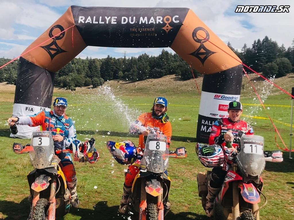 Prví traja jazdci Rallye Du Maroco (zľava – Walkner, Price, Brabec)