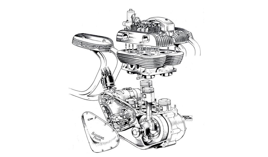 Netradičný štvorvalcový tzv. štvorcový motor s dvoma kľukovými hriadeľmi a válcami usporiadanými na vrcholoch štvorca - Ariel Square Four 1000