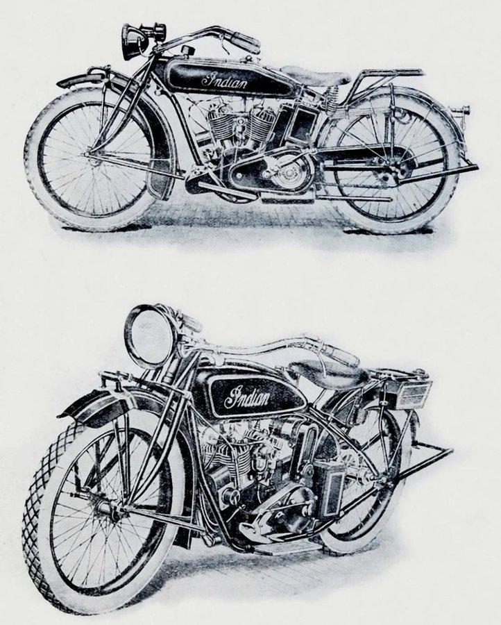 Autentické obrázky prvních modelů značky Indian, Powerplus a Scout, které přivezl dnes už legendární Ing. František Mařík do tehdejšího Československa v roce 1919
