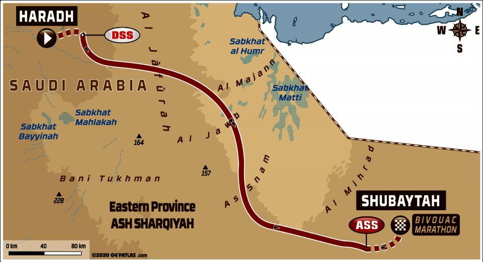 Dakar 2020 - 10. etapa -  Haradh - Shubaytah - mapa