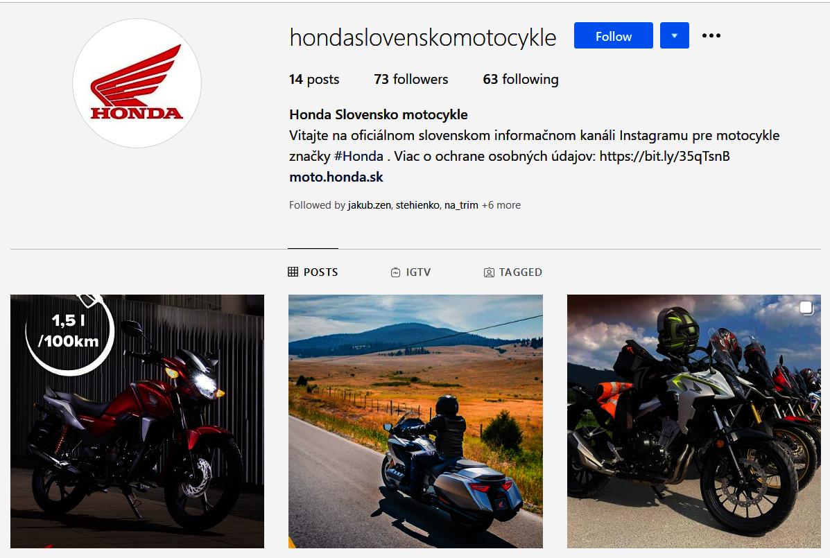 Honda predstavuje motocyklový Instagram: hondaslovenskomotocykle