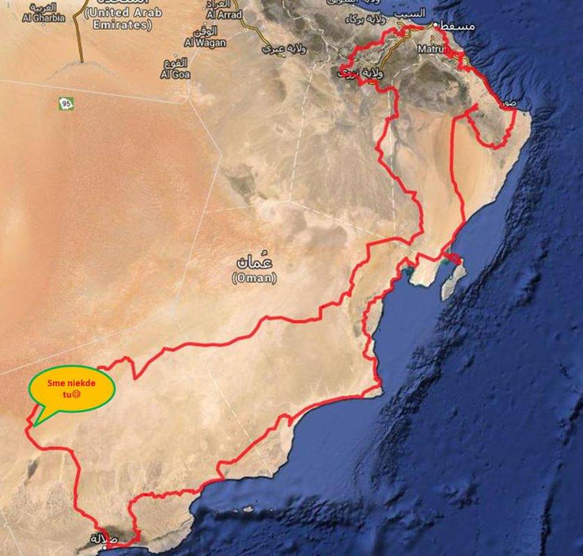 Sme v pusti, 100 km od Saudskych hranic. Vecer Risovi prestala ist motorka. Po 4 hod hladania - vysledok: bateria skratuje. Peto s Matusom vyrazili o 13:00 na otocku do Salalahu (540 km), z toho 150 km pista. So stastim sa im podarilo zohnat baterku.  Vratili sa o 23:00, celu cestu spat sli po tme. Zajtra nas cakaju velke duny.