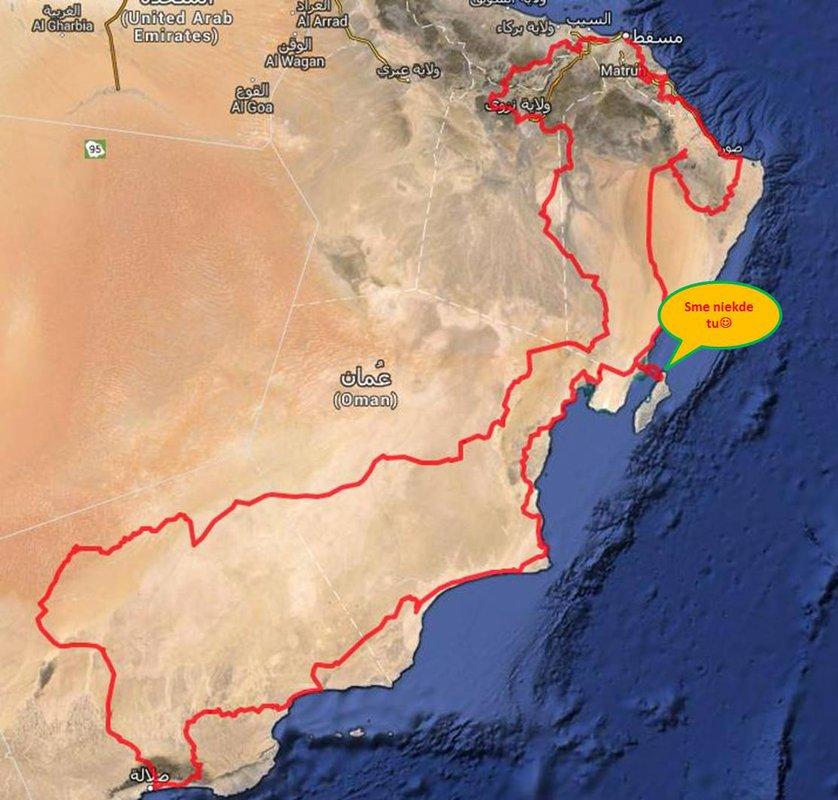 Sme na ostrove Masirah. Dosli sme sem cez 160 km pieskove peklo Wahiba Sands a bolo to o hubu:-)             Isli sme vyse hodinu v uplnej tme. Ked sa zotmelo, tak guide zabludil a museli sme sa vracat. Boli sme vystaveni a zacalo to byt kriticke. Chalani so 690 nam museli pomahat. 117 km z toho vsetko v piesku.             Spotreba 990tok 13l, 690tky zobrali 8:-) Spali sme u beduinov a rano sme pokracovali dalsich 63 km - dali sme to. Na toto budeme dlho pysni:-)