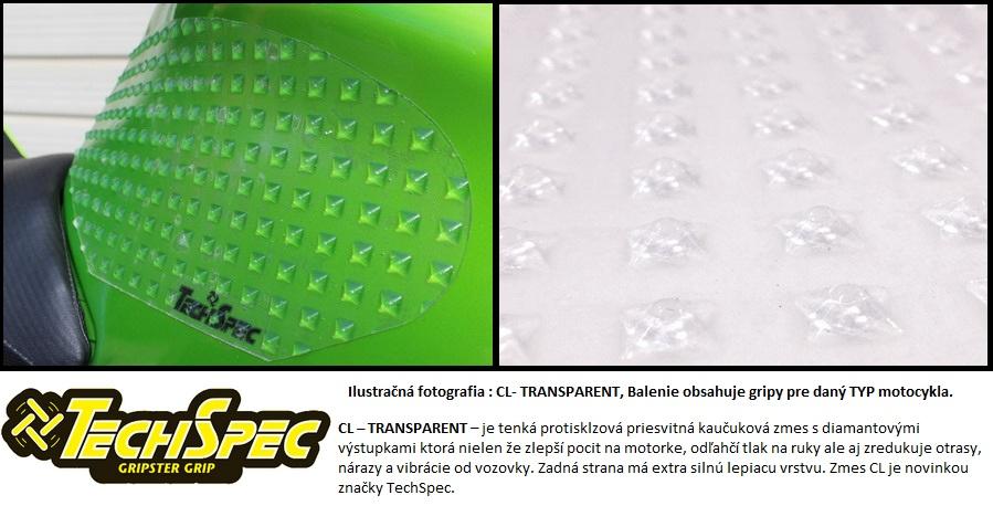 Techspec Gripster - gripy na nádrž motocykla Clear