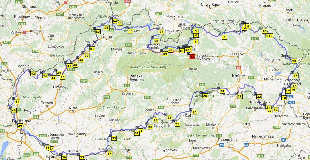 Pokus o rekord: Okolo Slovenska na motocykli 2015 - mapa pánovanej trasy