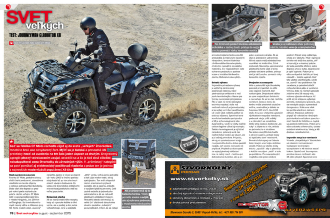 Svet motocyklov 8-9/2015 - TEST: Journeyman Gladiator X8