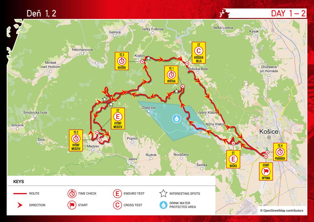 Šesťdňová Košice - ISDE 2015 - mapa 1. a 2. deň