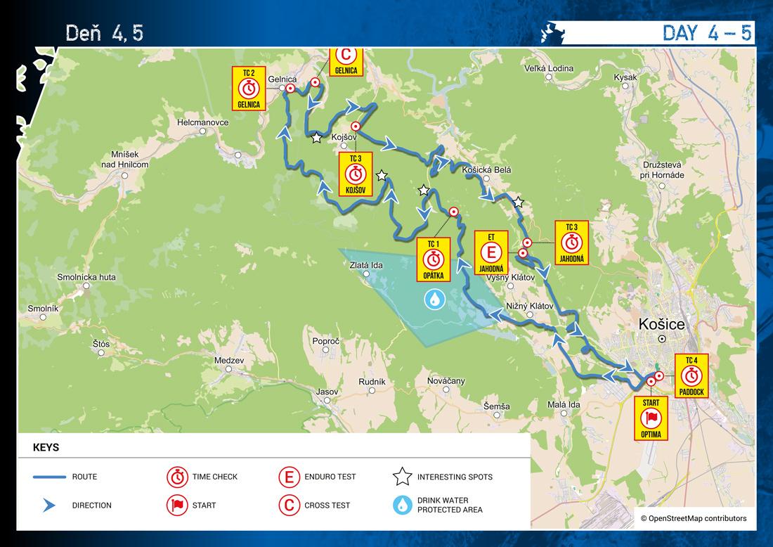 Šesťdňová Košice - ISDE 2015 - mapa 4. a 5. deň