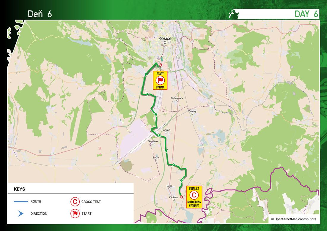 Šesťdňová Košice - ISDE 2015 - mapa 6. deň