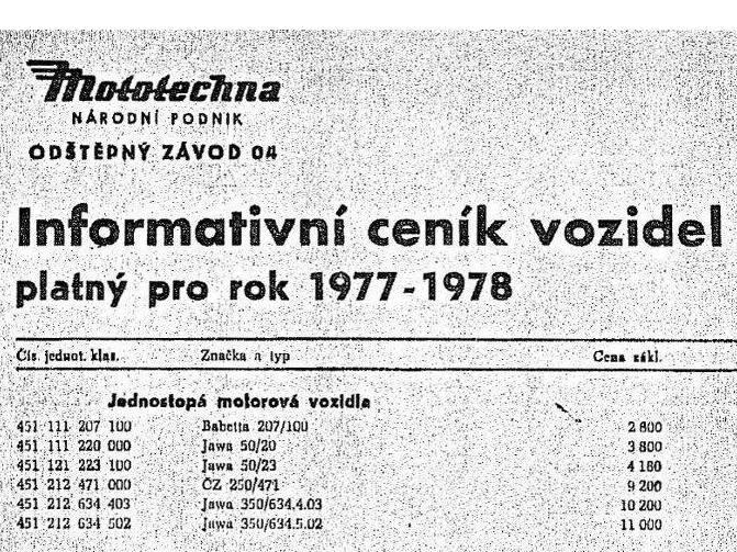 Mototechna - národní podnik - Informativní ceník vozidel platný pro rok 1977-79 - motocykle