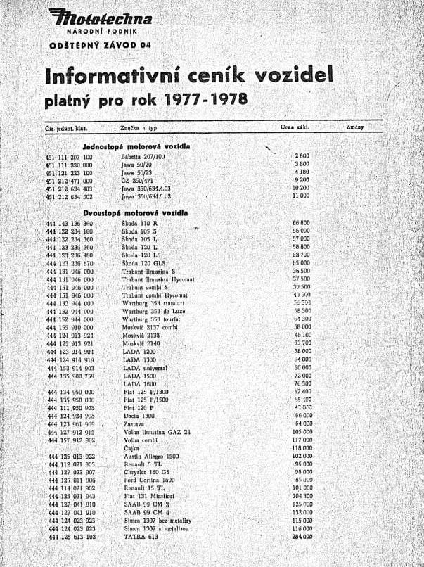 Mototechna - národní podnik - Informativní ceník vozidel platný pro rok 1977-79