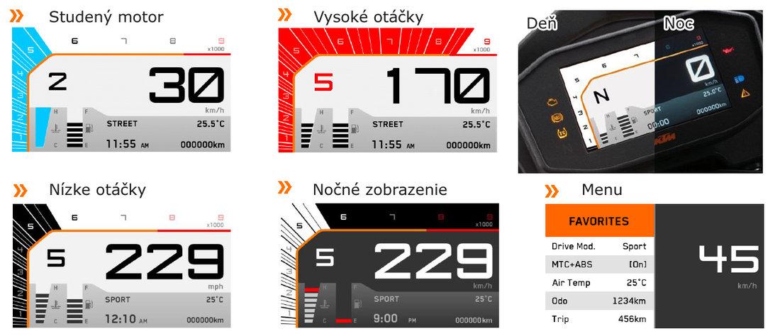 Nová plne farebná TFT prístrojovka - má viacero režimov