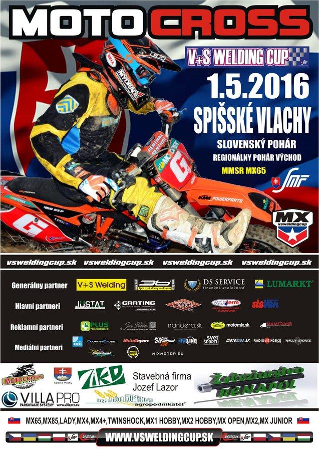 Regionálny pohár východ motokros V+S Welding Cup + SP + MMSR MX65, Spišské Vlachy, 1.5.2016