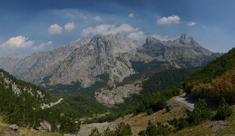 360 stupňová panoráma, Priesmyk Boge-Teth, Albánsko