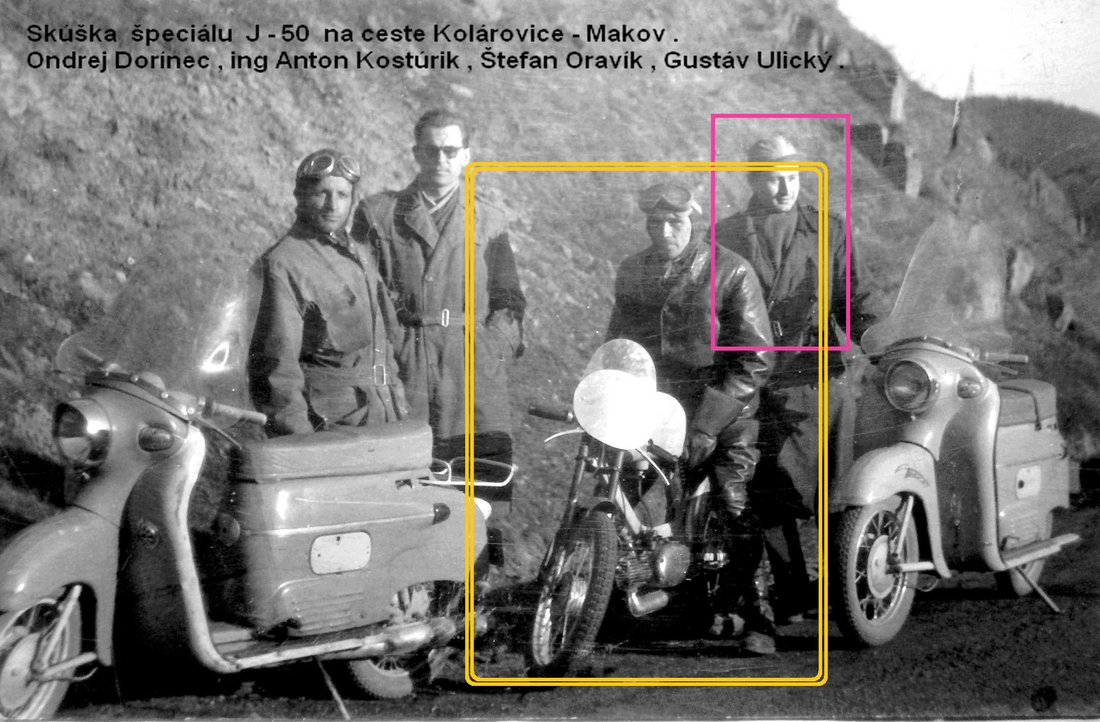 konštruktéri Pov. Strojární na rýchlostných skúškach Pioniera 555 a Maneta 100
